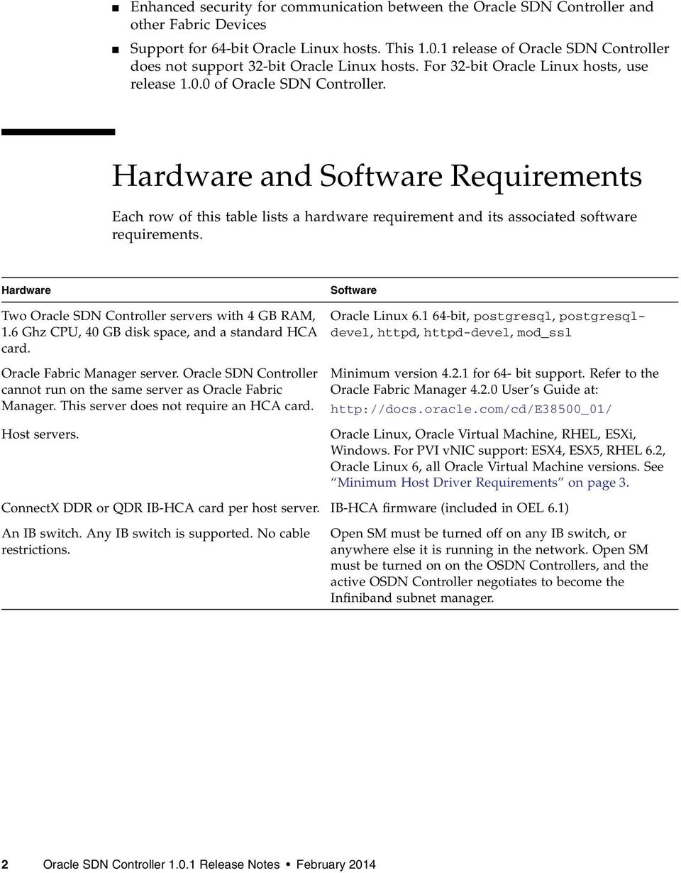 Hardware and Software Requirements Each row of this table lists a hardware requirement and its associated software requirements. Hardware Two Oracle SDN Controller servers with 4 GB RAM, 1.