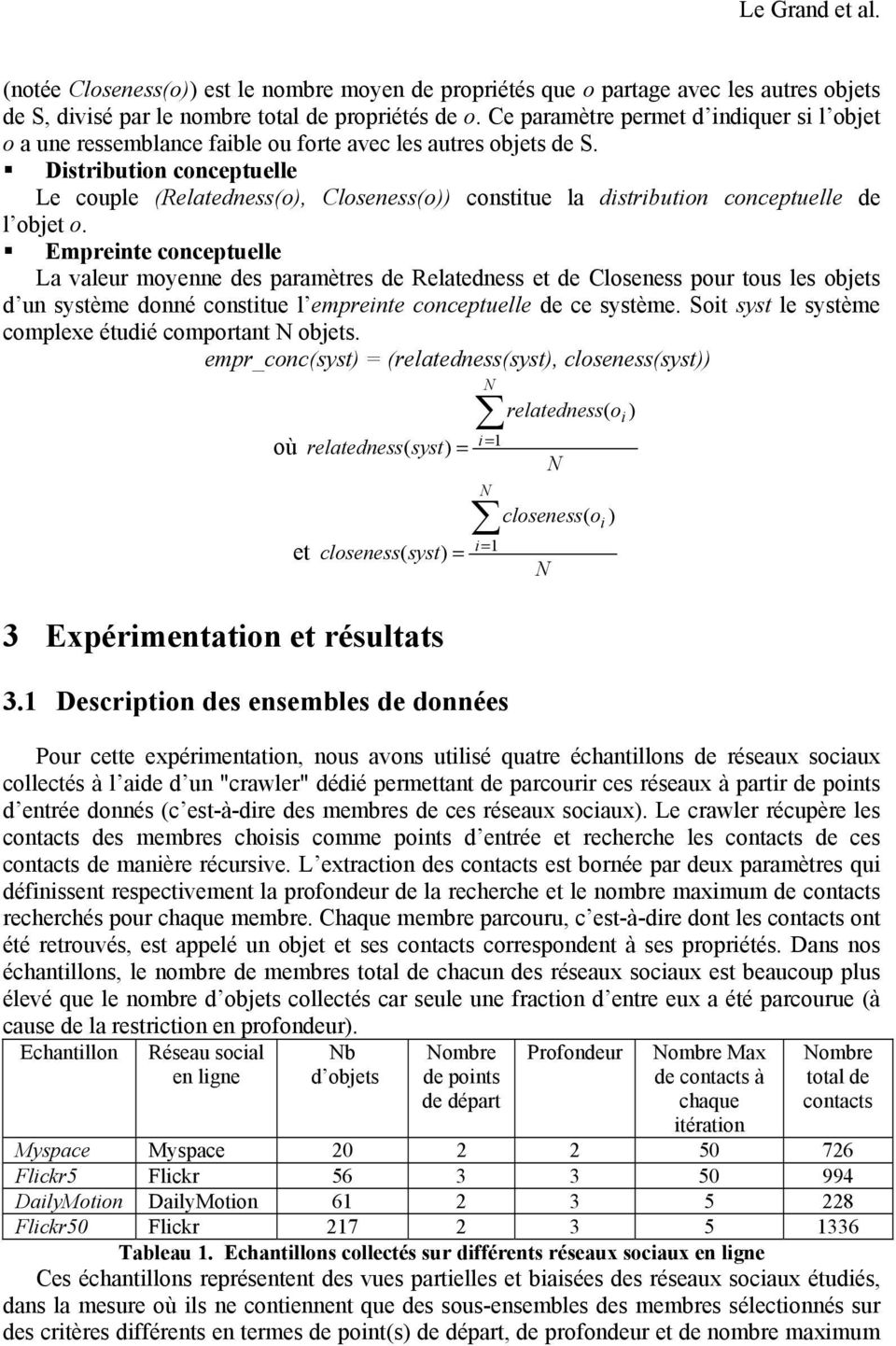 Distribution conceptuelle Le couple (Relatedness(o), Closeness(o)) constitue la distribution conceptuelle de l objet o.