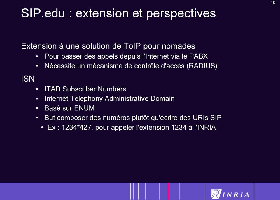 (RADIUS) ITAD Subscriber Numbers Internet Telephony Administrative Domain Basé sur ENUM But