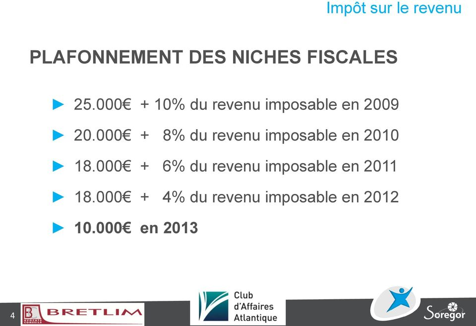 000 + 8% du revenu imposable en 2010 18.