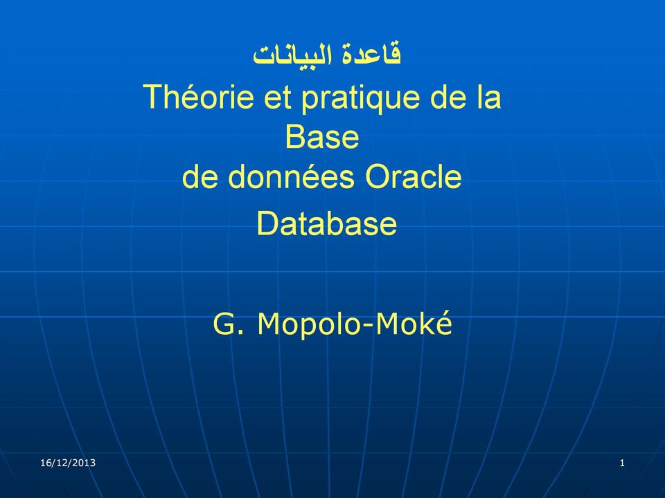 données Oracle Database G.