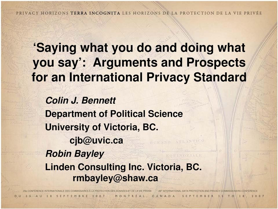 ca Robin Bayley Linden Consulting Inc. Victoria, BC. rmbayley@shaw.