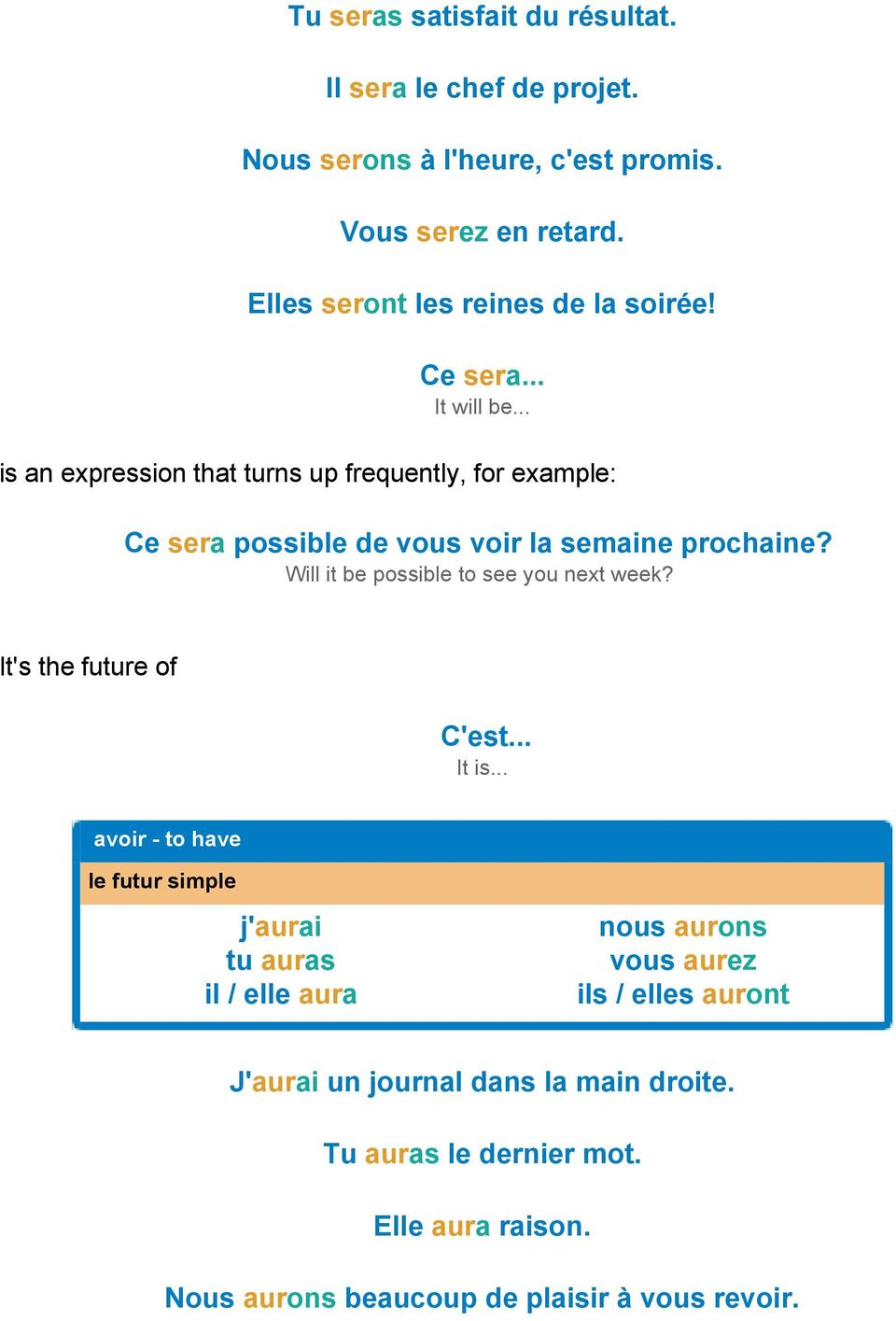 .. is an expression that turns up frequently, for example: Ce sera possible de vous voir la semaine prochaine?