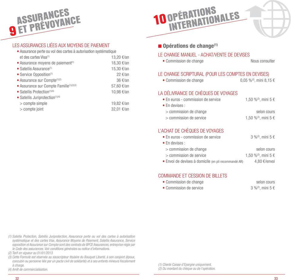 Satellis Juriprotection (1)(4) > compte simple 19,82 /an > compte joint 32,01 /an 10 OPÉRATIONS INTERNATIONALES Opérations de change (1) LE CHANGE MANUEL - ACHAT/VENTE DE DEVISES Commission de change