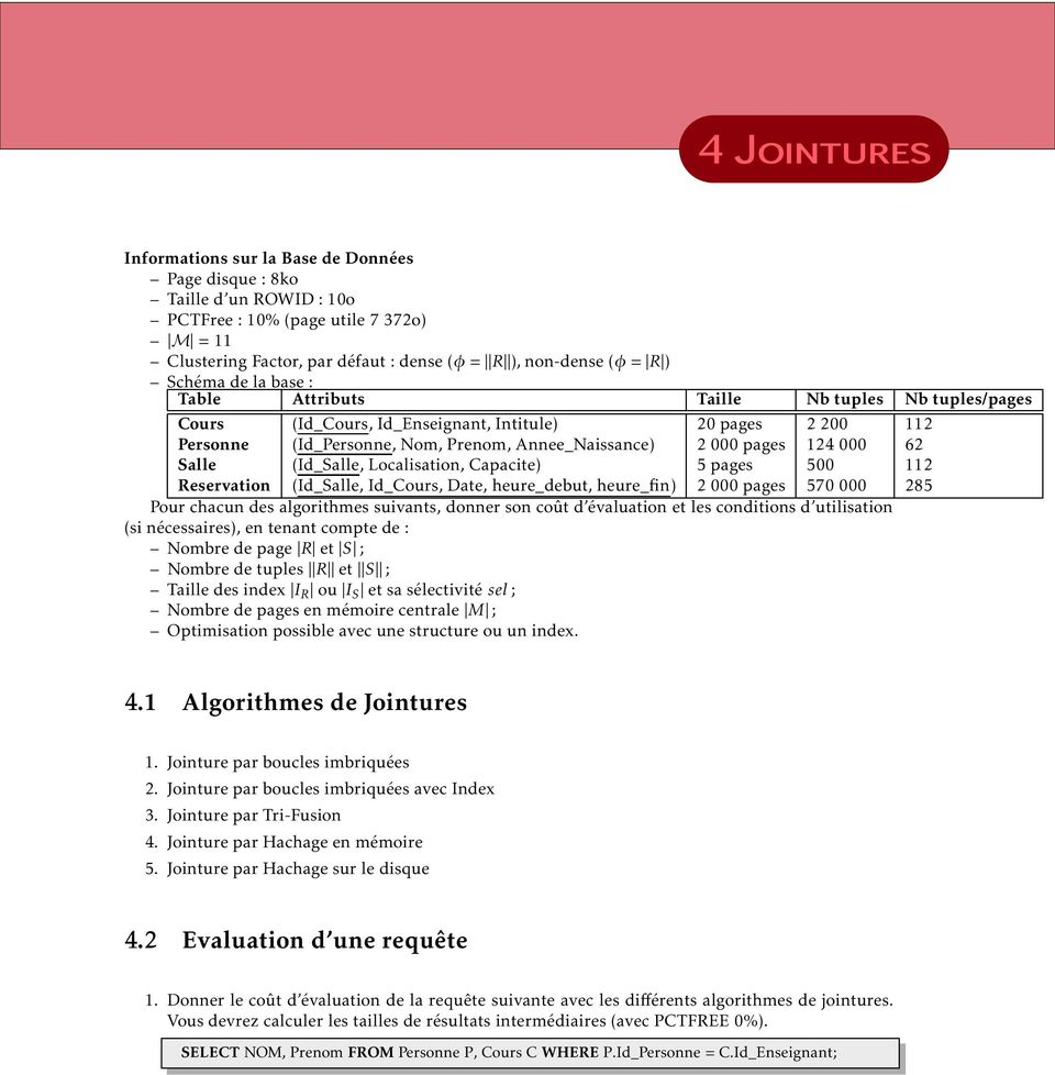 Salle (Id_Salle, Localisation, Capacite) 5 pages 500 112 Reservation (Id_Salle, Id_Cours, Date, heure_debut, heure_fin) 2 000 pages 570 000 285 Pour chacun des algorithmes suivants, donner son coût d