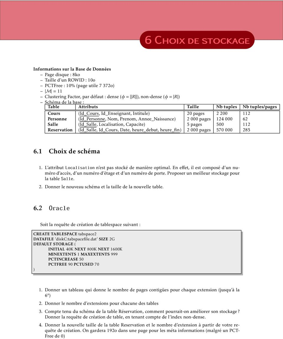 000 62 Salle (Id_Salle, Localisation, Capacite) 5 pages 500 112 Reservation (Id_Salle, Id_Cours, Date, heure_debut, heure_fin) 2 000 pages 570 000 285 6.1 Choix de schéma 1.