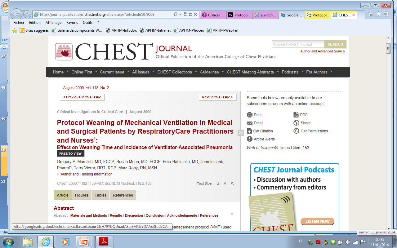 Modes of Mechanical Ventilation and Weaning : A National Survey of Spanish Hospitals Esteban et al, Chest 1994;