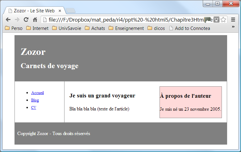 "suite fichier ""mon_style.css"" : footer { padding:0."