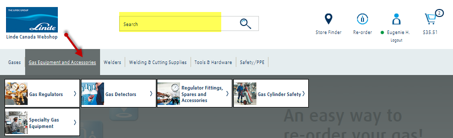 Option 5. Browse and search for products on Linde s online catalogue You can browse in Linde s online catalogue by going to the Homepage product tabs and look at the different product categories.