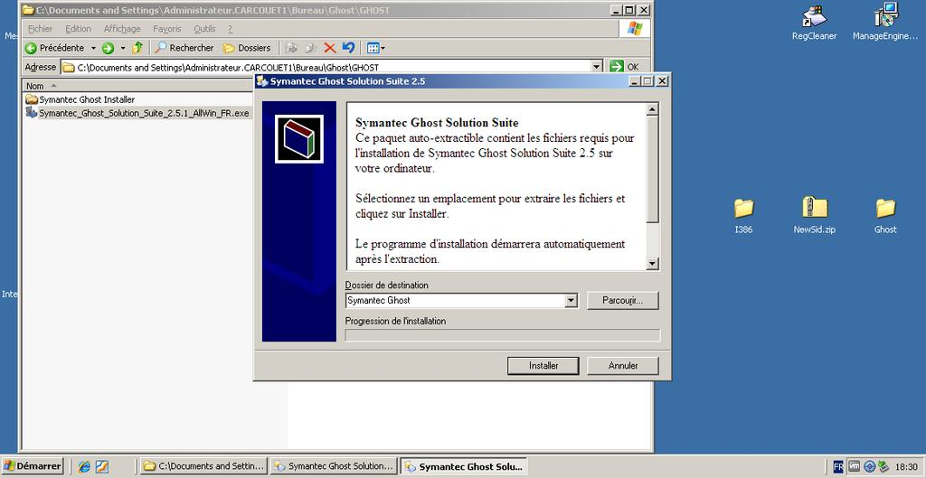 III INSTALLER GHOST SOLUTION SUITE 1 Sur votre serveur 2003, qui sera votre serveur Ghost, lancez Symantec_Ghost_Solution_Suite_2.5.1_AllWin_FR.