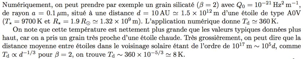 Température des grains interstellaires (II) Equation d équilibre Absorption Emission