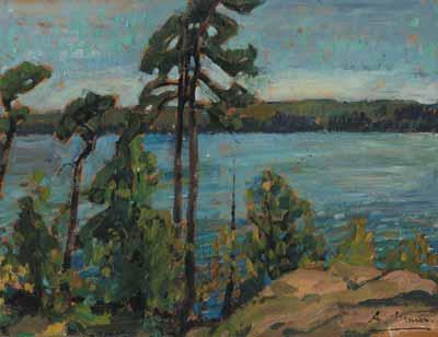 ARTHUR LISMER (top / haut) The Silent Pines oil on board,