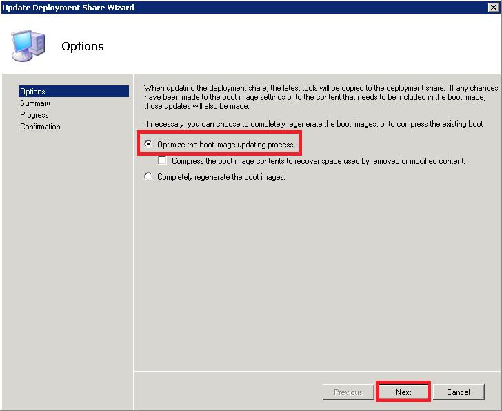 Choisir optimize the boot updating process puis cliquer sur