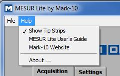 écran. MESUR TM Lite User s Guide Ouvre le guide de l utilisateur en tant que document PDF (Adobe Reader est requis). Mark-10 Website Lien direct vers le site Internet de Mark-10.
