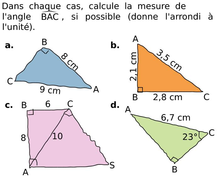 Calculer un angle dans un triangle rectangle en utilisant le
