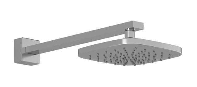 BF1392 STANDARD: Rainhead with 90 Wall arm SpEcifications Features Water 1/2 male inlet NPT Diameter of 195 mm (7 11/16 ) Anti-scale system with soft sprays Adjustable orientation swivel Chrome :