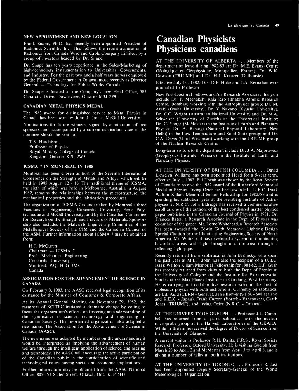 The bulletin of the canadian association of physicists vol 39 no la physique au canada 49 new appointment and new location frank snape phd fandeluxe Gallery