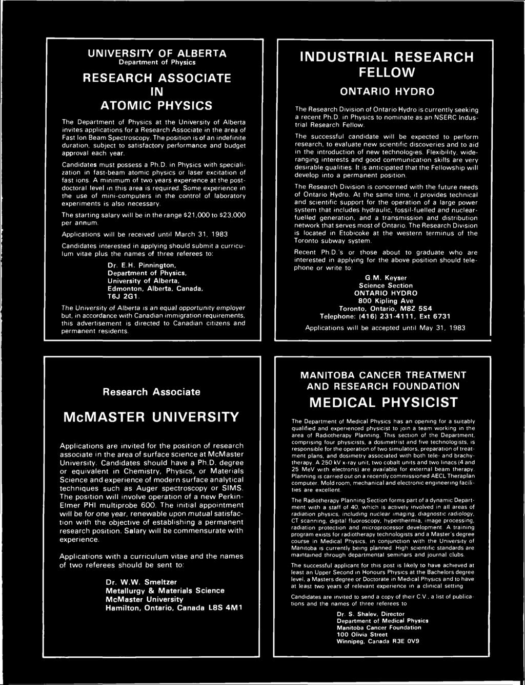 The bulletin of the canadian association of physicists vol 39 no university of alberta department of physics research associate in atomic physics the department of physics at fandeluxe Images