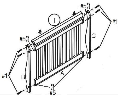 Step 1: Step 1 a) Attach rear legs (B) and (C) to headboard (A), using two bolts (#1) and two barrel nuts (#5) on each side. Important: Do not completely tighten bolts until after step 1b.