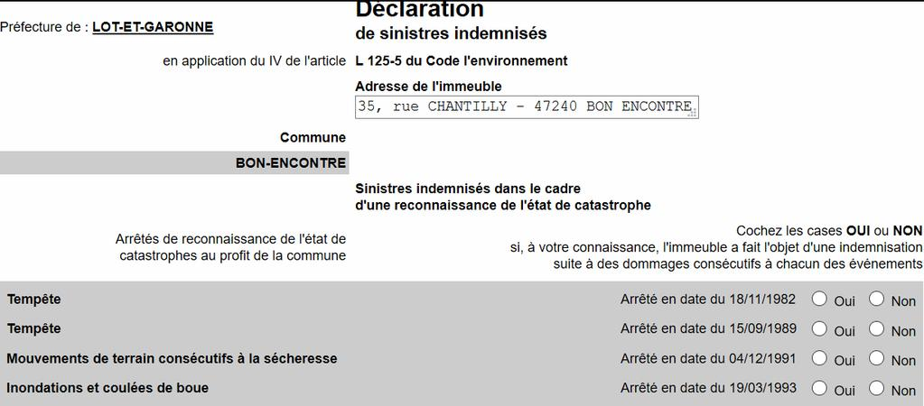 En application du IV de l article L-125-5 du code de l