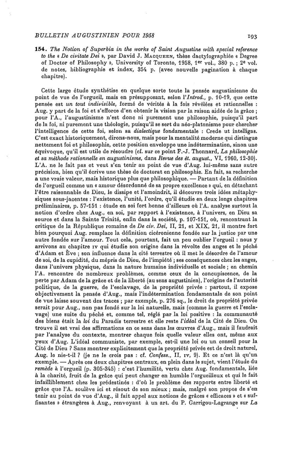 BU LLETIN A UGUSTINIEN POUR 1958 193 154. The Notion of Superbia in the Works of Saint Augustine with spécial reference to the «De civitale Dei», par David J.