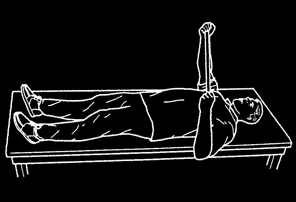 2 healthinfotranslations.org Lie on your back with your hands wrapped over the top of the dowel. Have one arm slightly out from your body with the elbow bent 90 degrees.