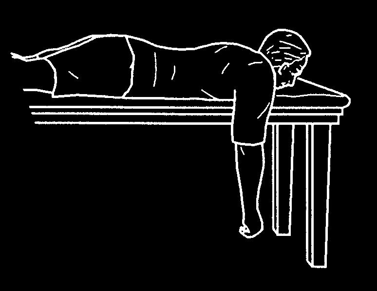 4 healthinfotranslations.org Lie face down on a table or bench. Have one arm hanging straight down to the floor with elbow straight. Bend your elbow and slowly bring your elbow up as high as you can.