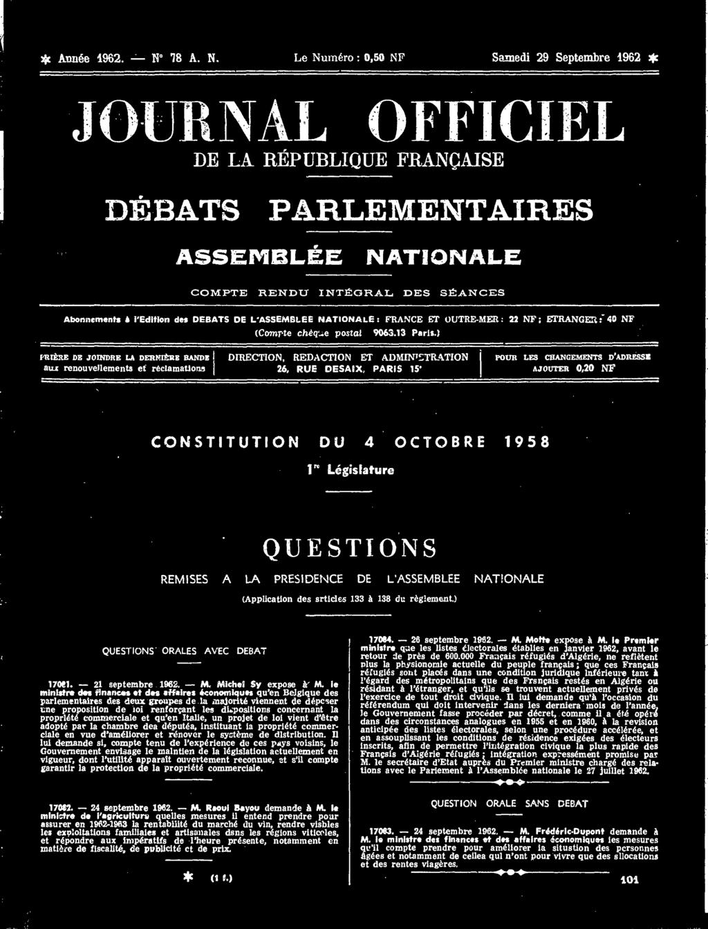 Journal Officiel Constitution Du 4 Octobre Legislature Questions