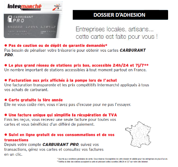Source : Site Internet Pour devenir client de la Carte Carburant PRO INTERMARCHE, rien de plus simple!