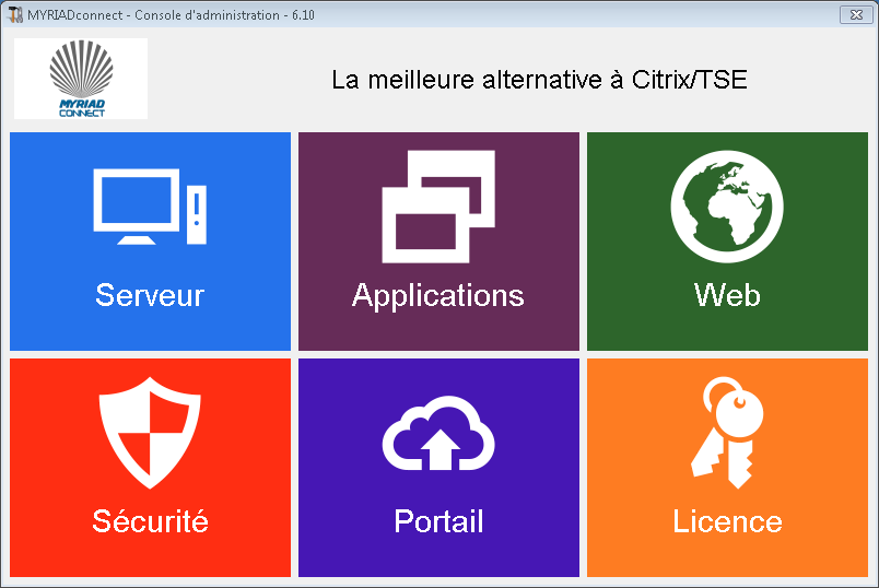 AdminTool la console de gestion L application unifiant les outils de configuration de MYRIAD-connect et de Windows dans une interface multilingue.