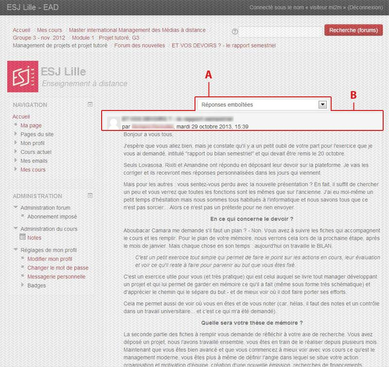 Guide plateforme FOAD ESJ Lille (étudiant) - Les forums de discussion 5.2.