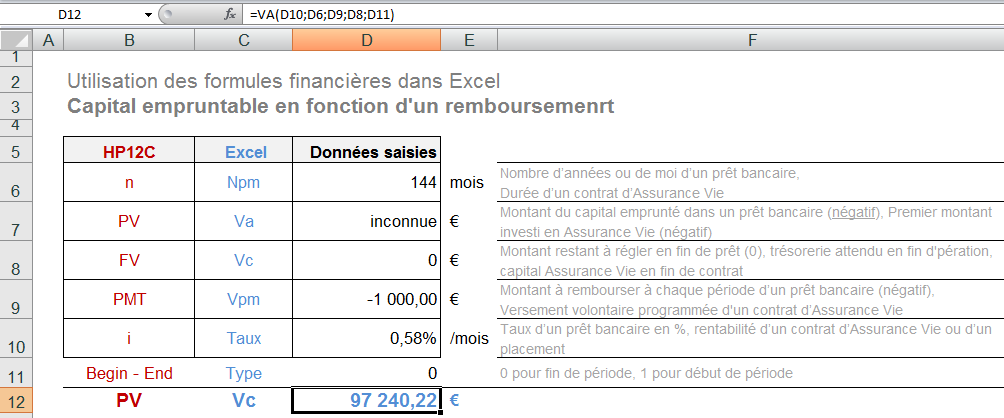 Exercice Calculer le montant du capital empruntable Office 2007 / Excel 2007 / 2_Exercices / Exo_24_Fi-69_calculs_financiers.