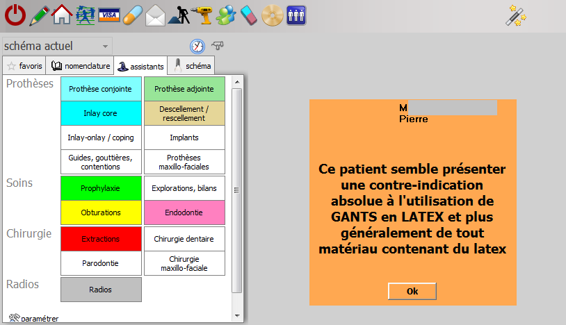 Exemple d événement (post-it) à destination d un patient, message programmé à l ouverture