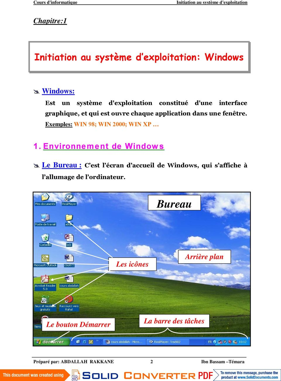 Exemples: WIN 98; WIN 2000; WIN XP 1.