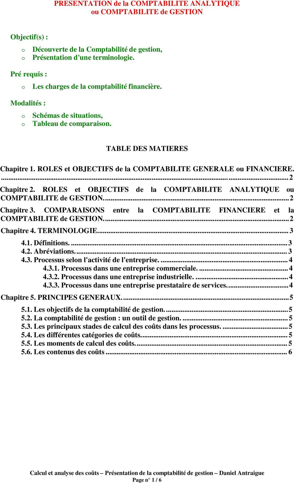 Presentation De La Comptabilite Analytique Pdf