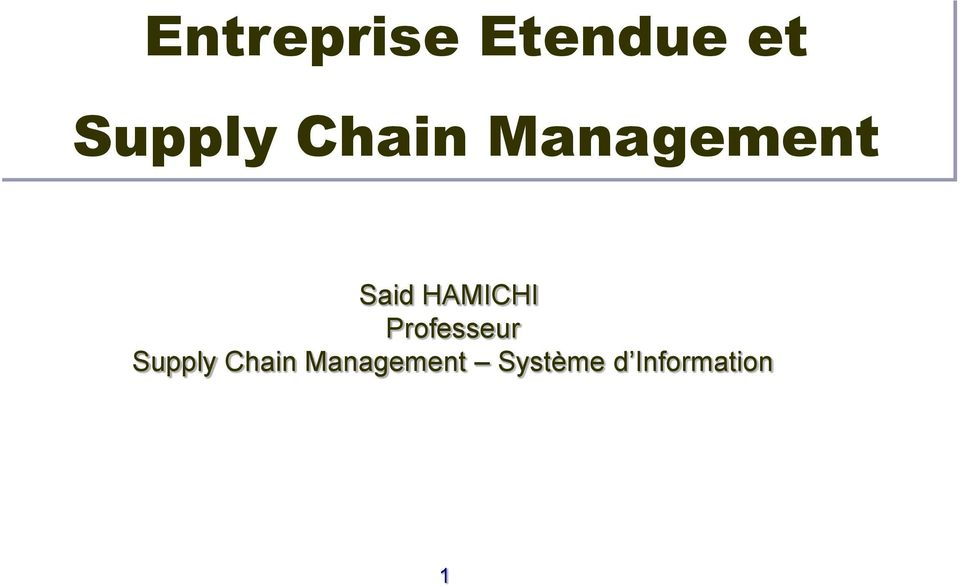 Professeur Supply Chain