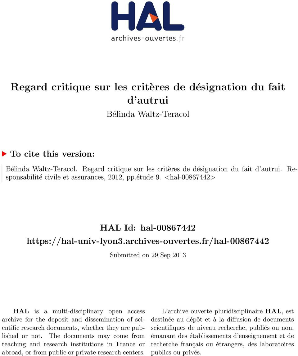 fr/hal-00867442 Submitted on 29 Sep 2013 HAL is a multi-disciplinary open access archive for the deposit and dissemination of scientific research documents, whether they are published or not.