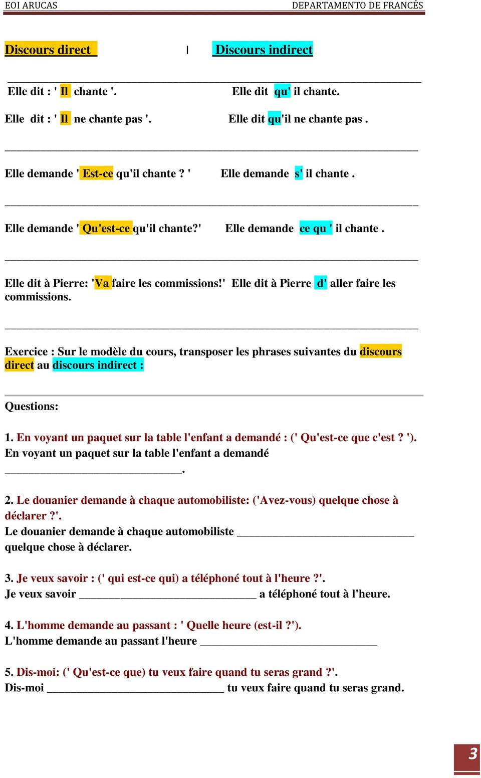 Discours Direct Indirect Au Present Pdf Free Download