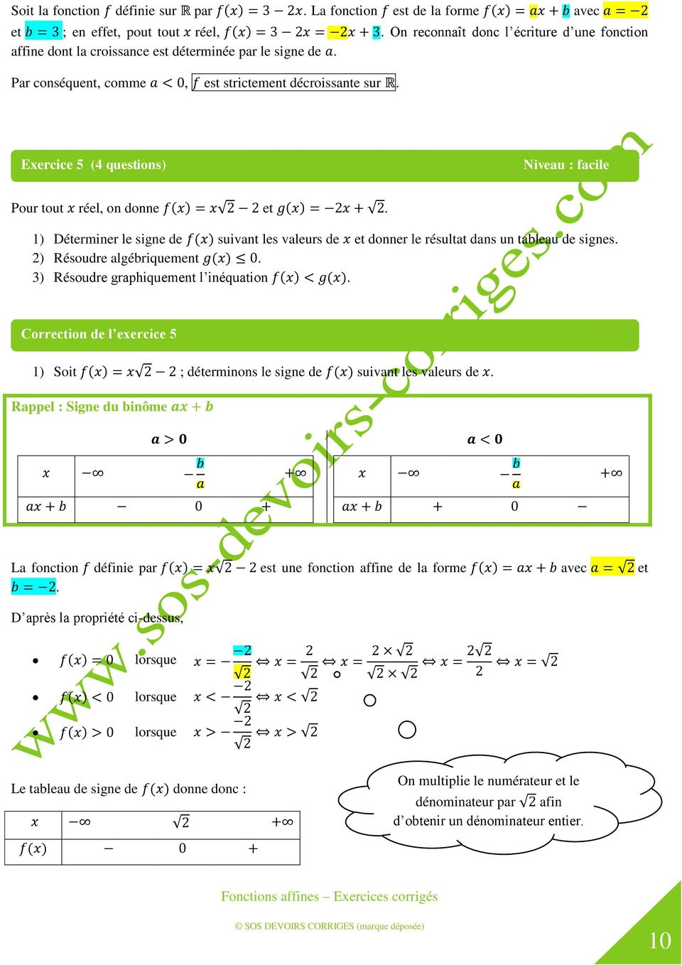 Fonctions Affines Exercices Corriges Pdf