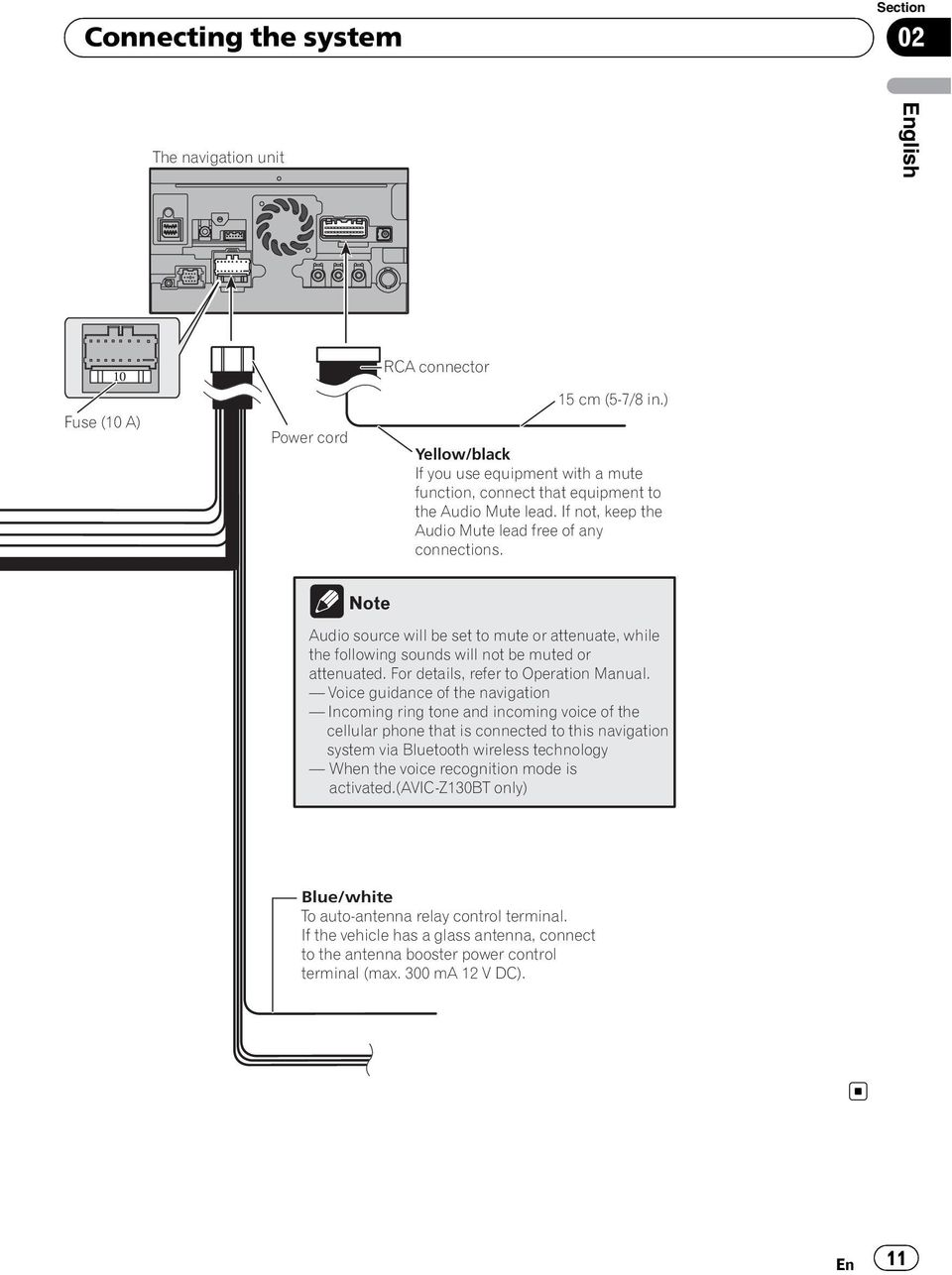 Avic Z130bt X930bt X9310bt Pdf Pioneer Radio Wiring Diagram Note Audio Source Will Be Set To Mute Or Attenuate While The Following Sounds