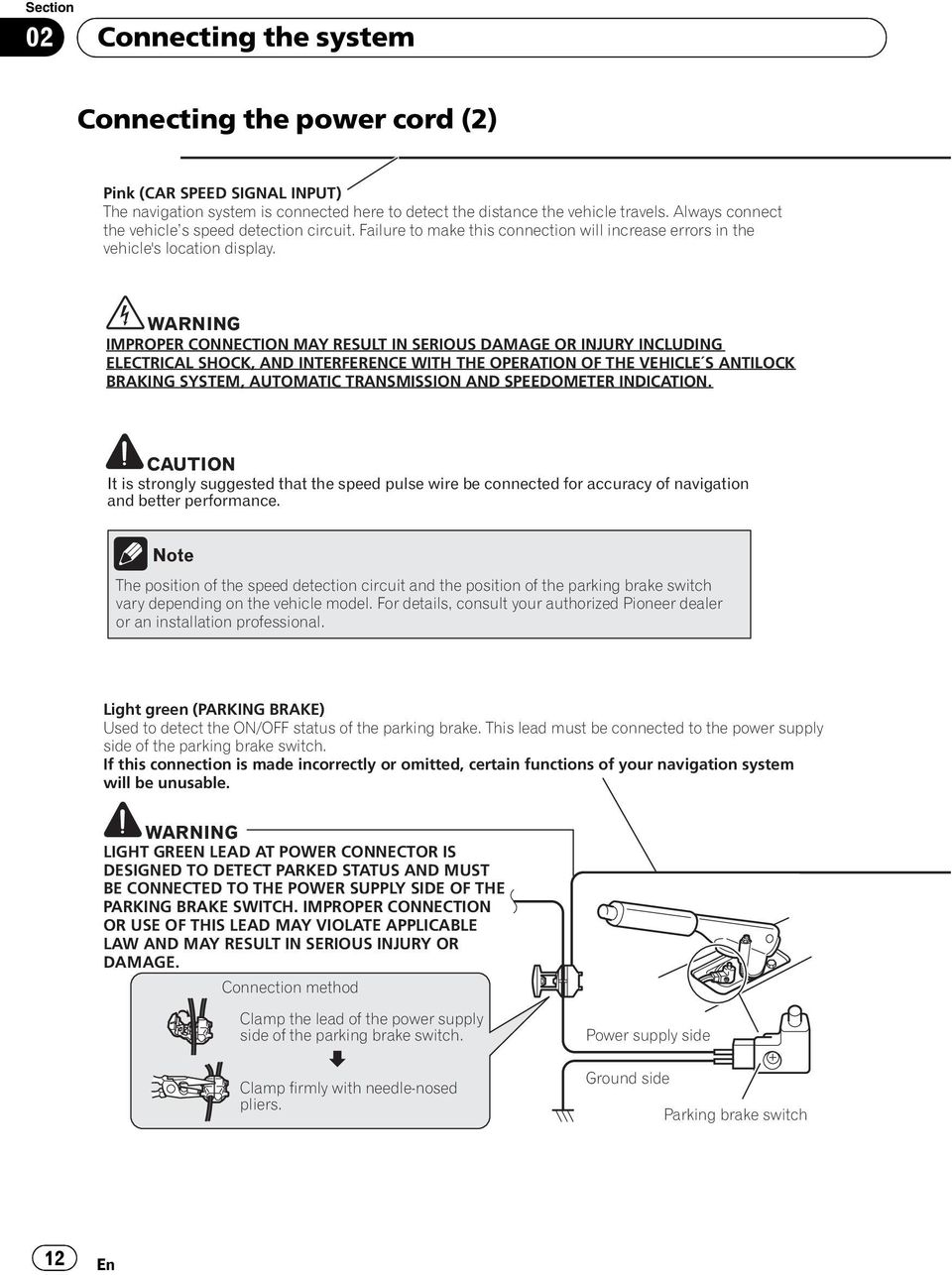 Avic Z130bt X930bt X9310bt Pdf Pioneer Radio Wiring Diagram Warning Improper Connection May Result In Serious Damage Or Injury Including Electrical Shock And Interference