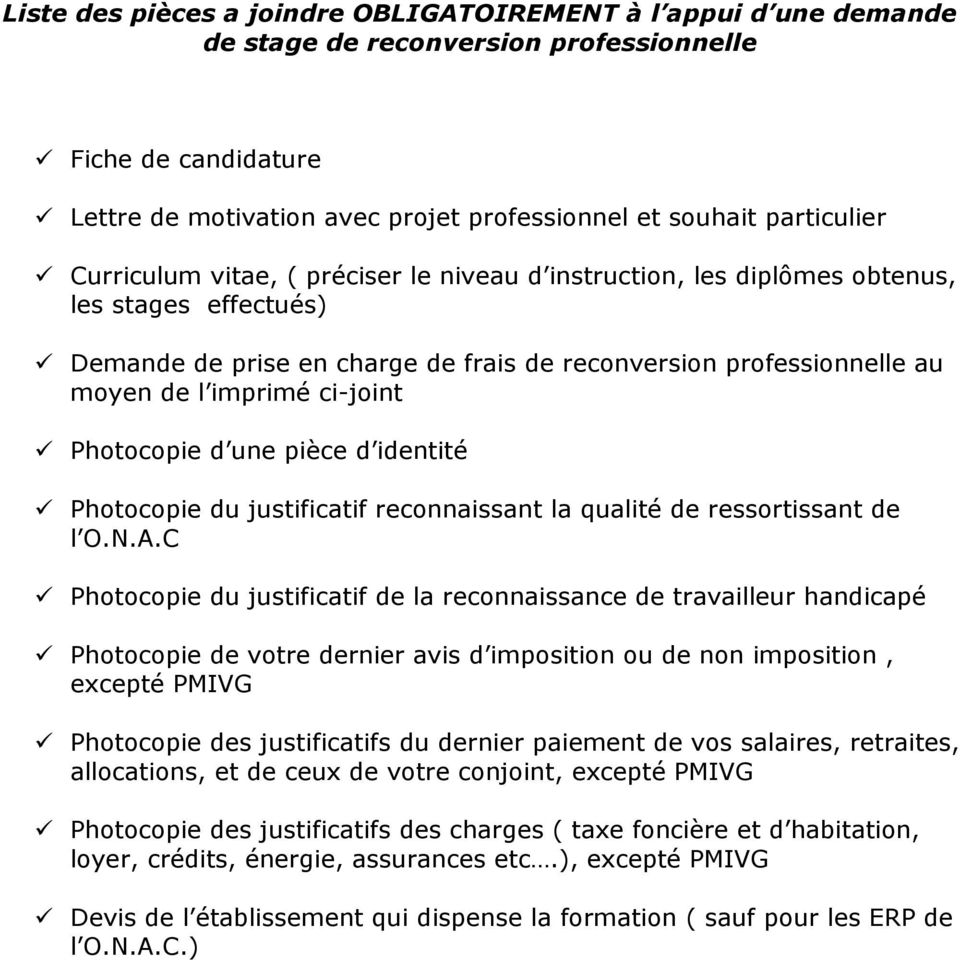 Fiche De Candidature A Un Stage De Reconversion