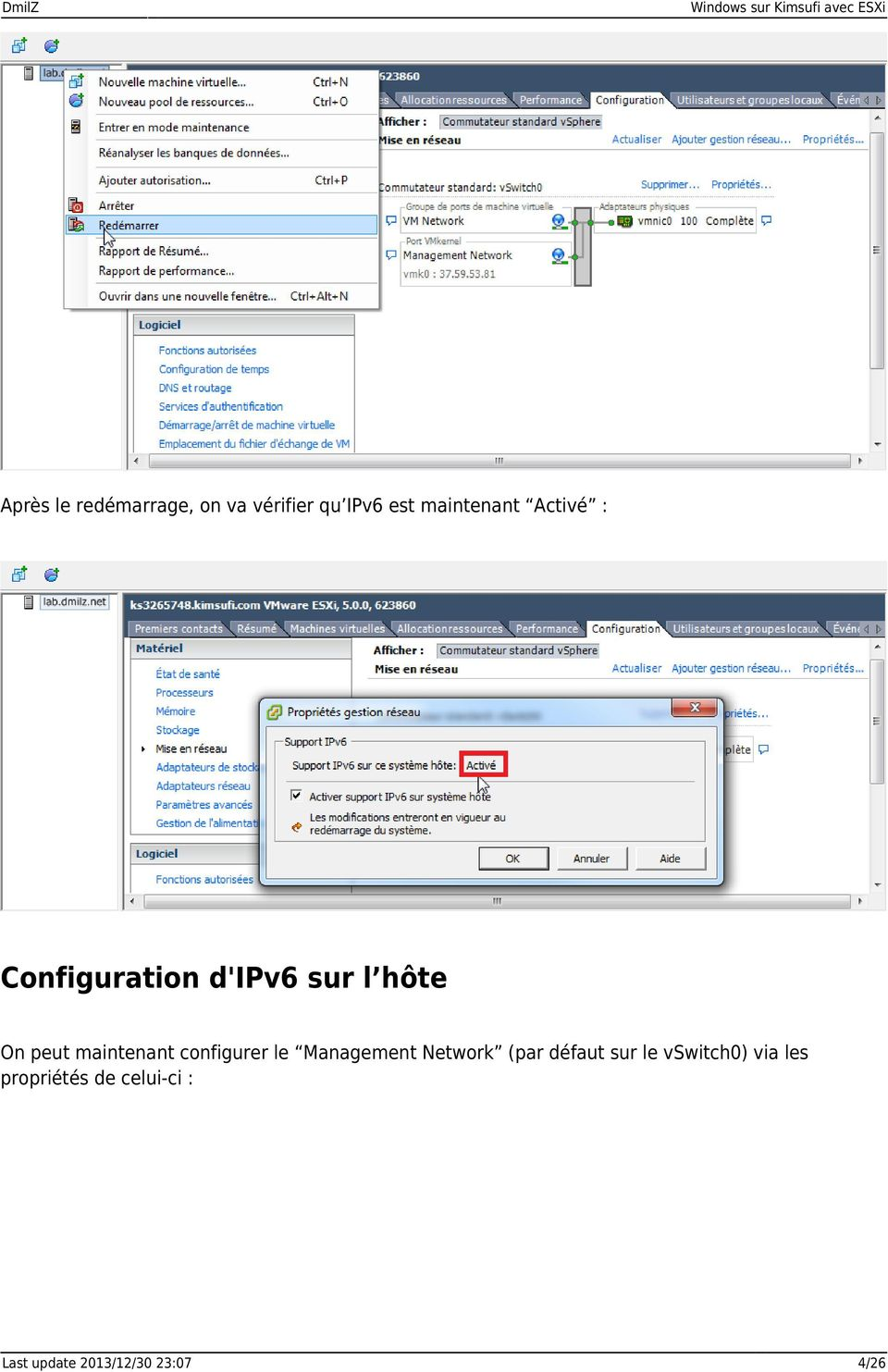 peut maintenant configurer le Management Network (par