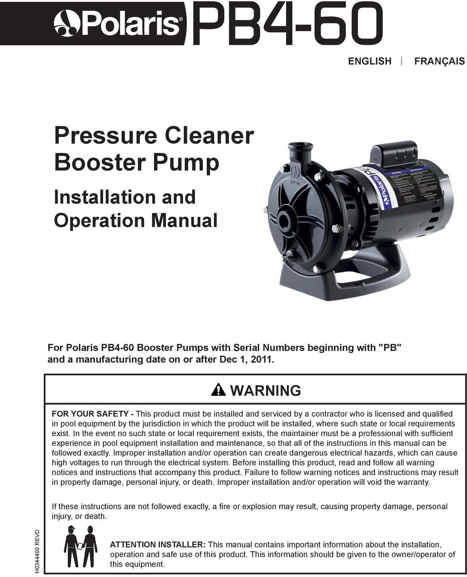 Pressure Cleaner Booster Pump Pdf Pb4 Motor Wiring Diagram Such State Or Local Requirements Exist 2 Page English Polaris 60 Installation And Operation Manual