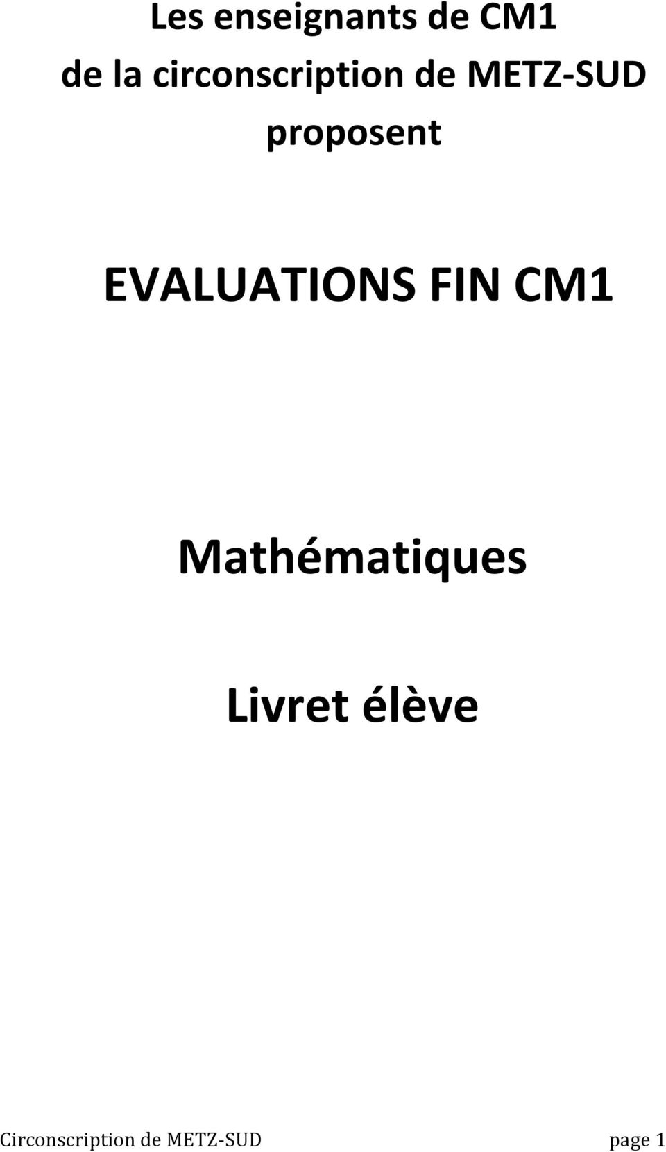 proposent EVALUATIONS FIN CM1