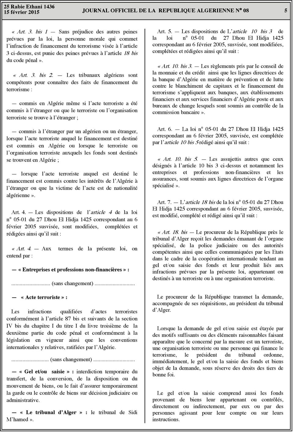 article 18 bis du code pénal». «Art. 3. bis 2.