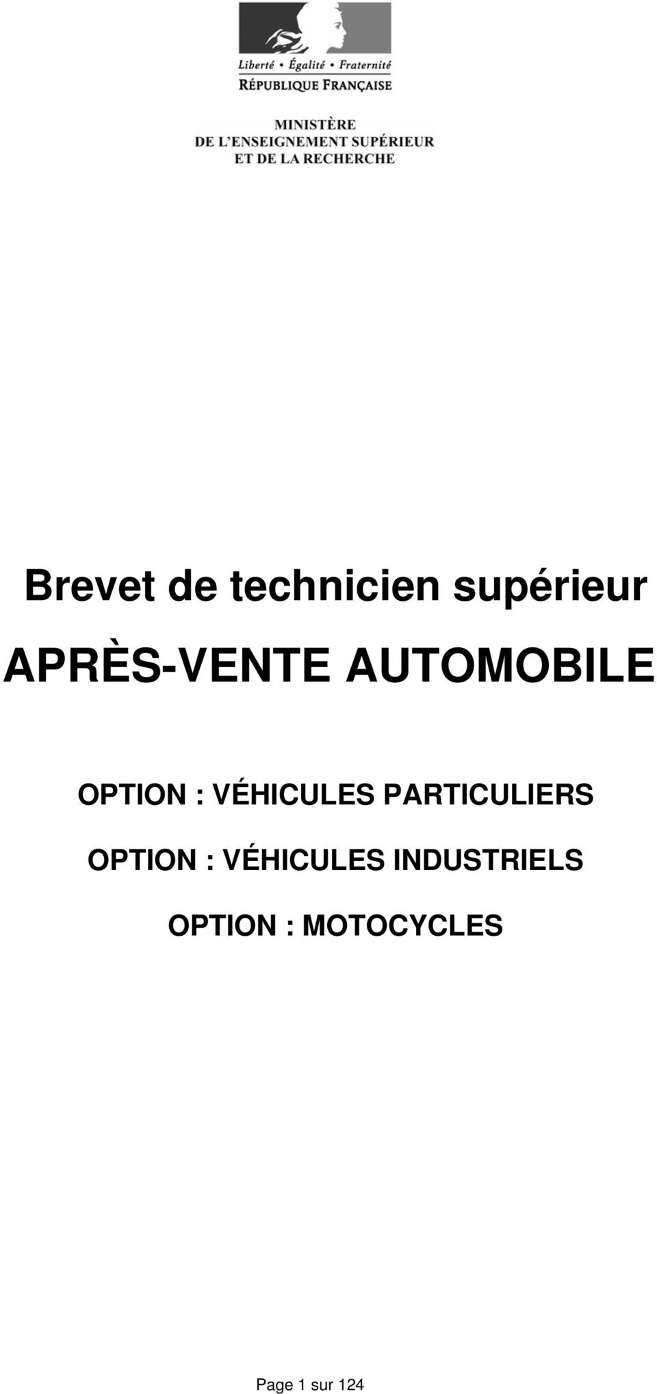 VÉHICULES PARTICULIERS OPTION :