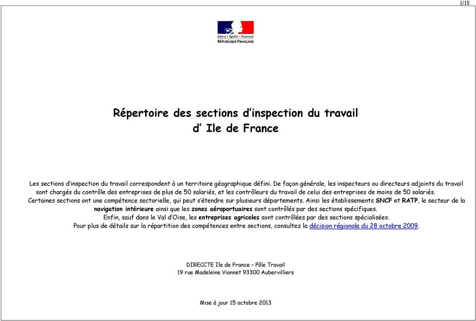 inspection du travail jemmapes