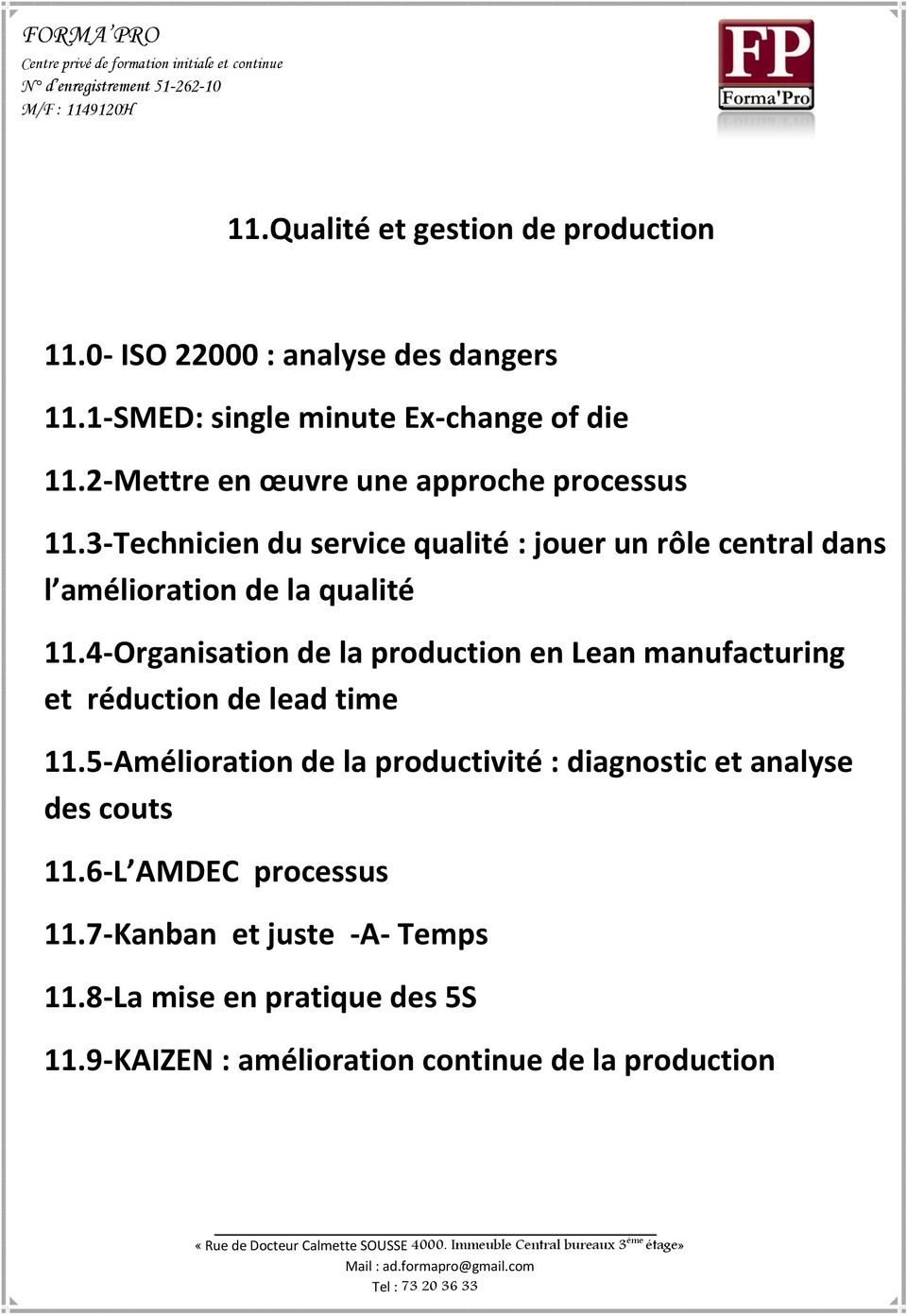 4-Organisation de la production en Lean manufacturing et réduction de lead time 11.