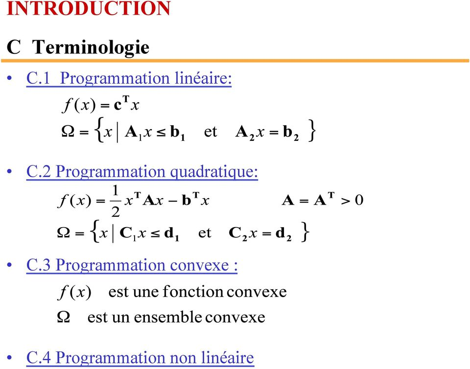 2 Programmation quadratique: C.